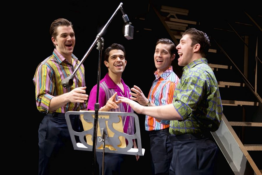 "The national tour of the Broadway hit ""Jersey Boys"" returns to Chicago at the Cadillac Palace Theatre for a 16-performance run starting Tuesday, May 12. The current touring cast portraying Frankie Valli and The Four Seasons features Keith Hines, left, Hayden Milanes, Drew Seeley and Matthew Dailey."