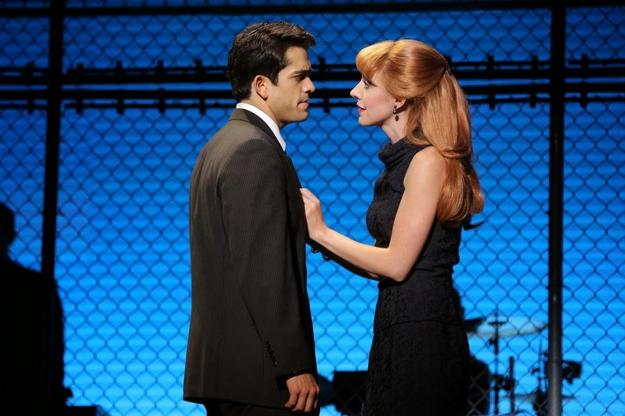 "Frankie Valli (Hayden Milanes) argues with girlfriend Lorraine (Jaycie Dotin) in the national tour of ""Jersey Boys,"" which returns to Chicago at the Cadillac Palace Theatre from Tuesday, May 12, through Sunday, May 24."