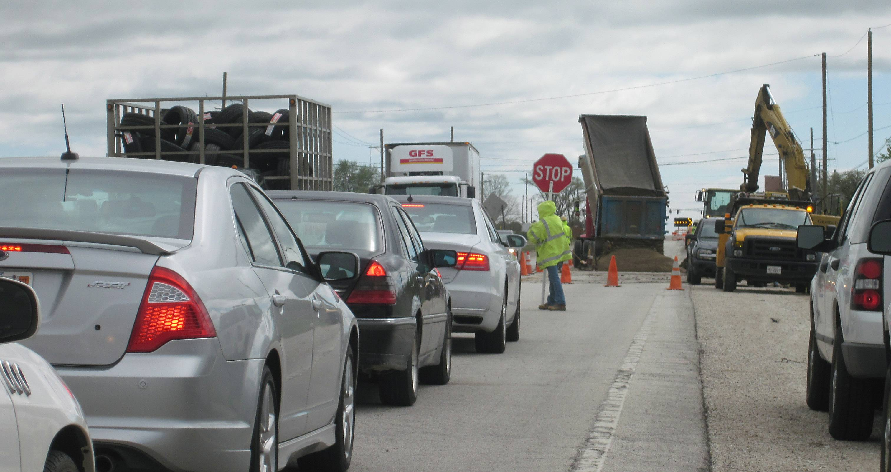 Traffic backs up Tuesday morning for road construction along Peterson Road near Grayslake. The second stage of work on the Peterson road project is getting underway, officials said.