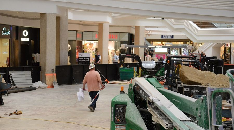 Construction continues on the $13.9 million renovation of Woodfield Mall in Schaumburg. Mall management says the work is on schedule to finish before the holiday shopping season.