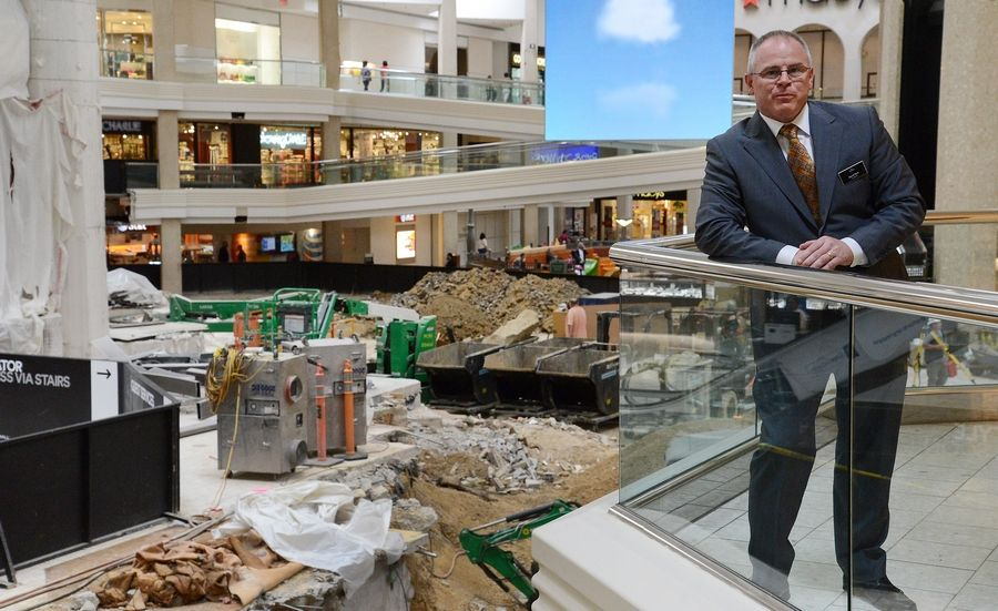 Woodfield Mall General Manager David Gott said work on the shopping center's $13.9 million facelift remains on schedule and should be done in time for the holidays.
