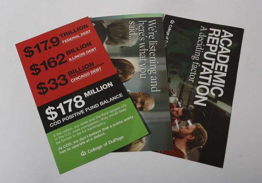 Postcards sent by the College of DuPage to thousands of households have drawn fire from new board Chairwoman Kathy Hamilton, who has called some of the mailings examples of electioneering.