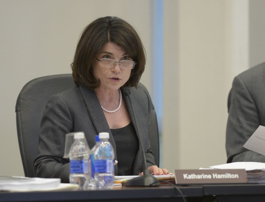 College of DuPage board Chairwoman Kathy Hamilton led questioning Thursday night about postcards and other literature touting the college before the April election.