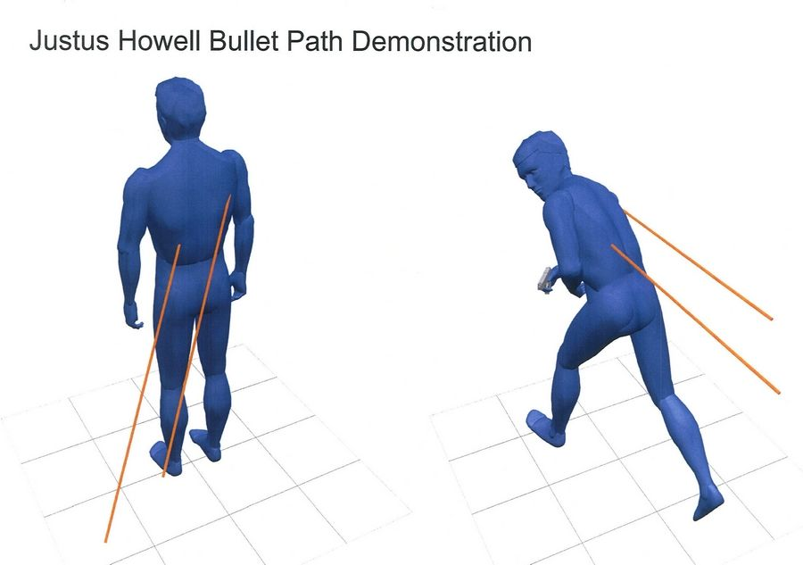 A rendering shows the path authorities say two bullets took before striking Justus Howell.