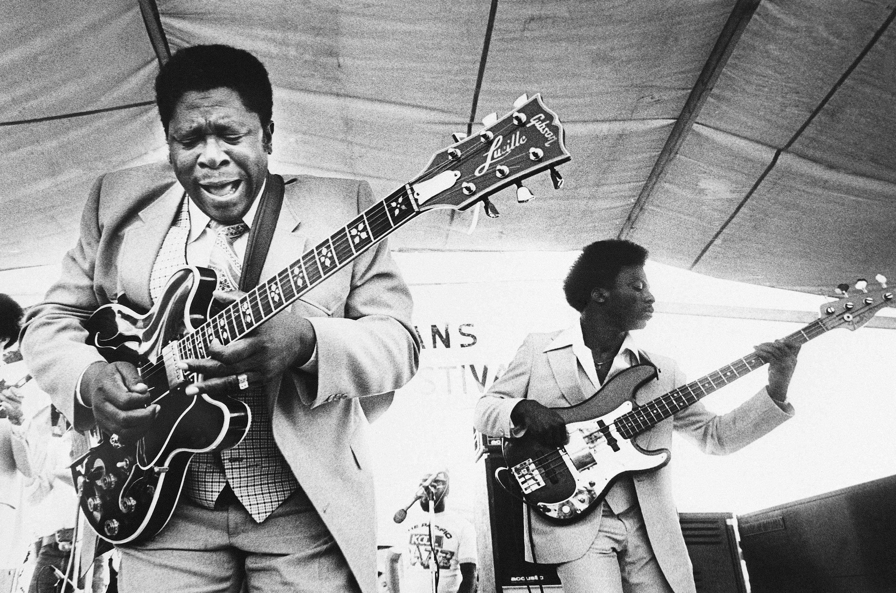 In this April 21, 1980, file photo, B.B. King, left, and an accompanist perform during the opening of the 1980 New Orleans Jazz and Heritage Festival.