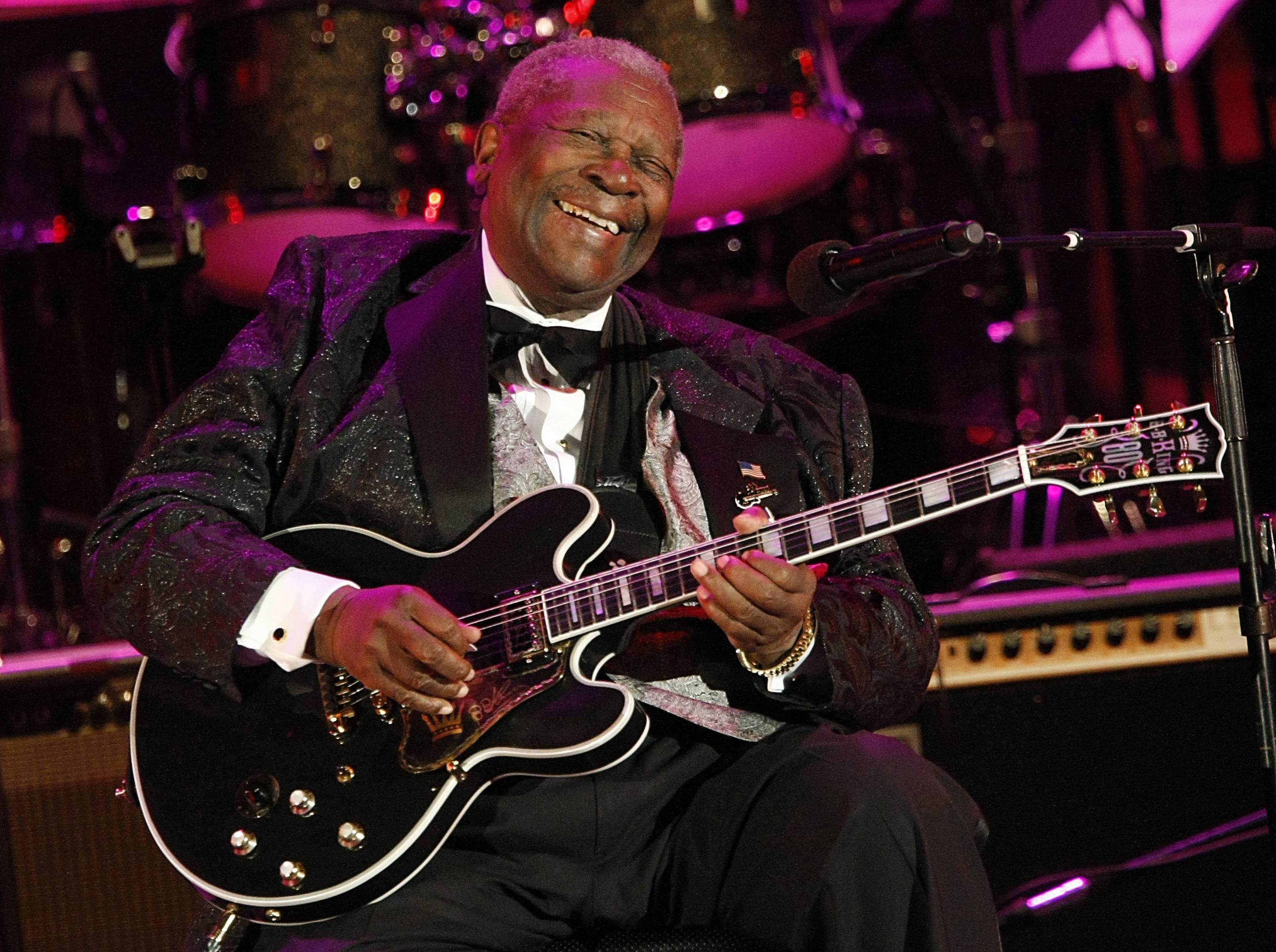 In this June 20, 2008, file photo, musician B.B. King performs at the opening night of the 87th season of the Hollywood Bowl in Los Angeles.