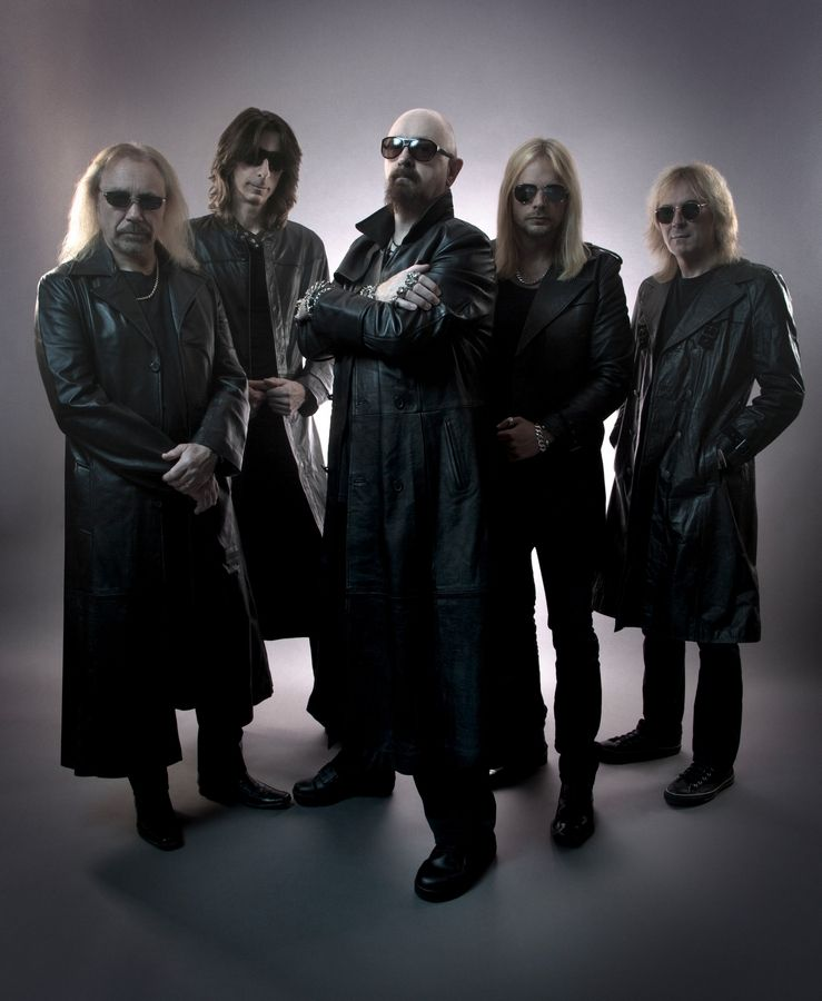 Judas Priest -- Ian Hill, left, Scott Travis,­ Rob Halford, Richie Faulkner and Glenn Tipton -- play the intimate Rosemont Theatre on Thursday, May 21.