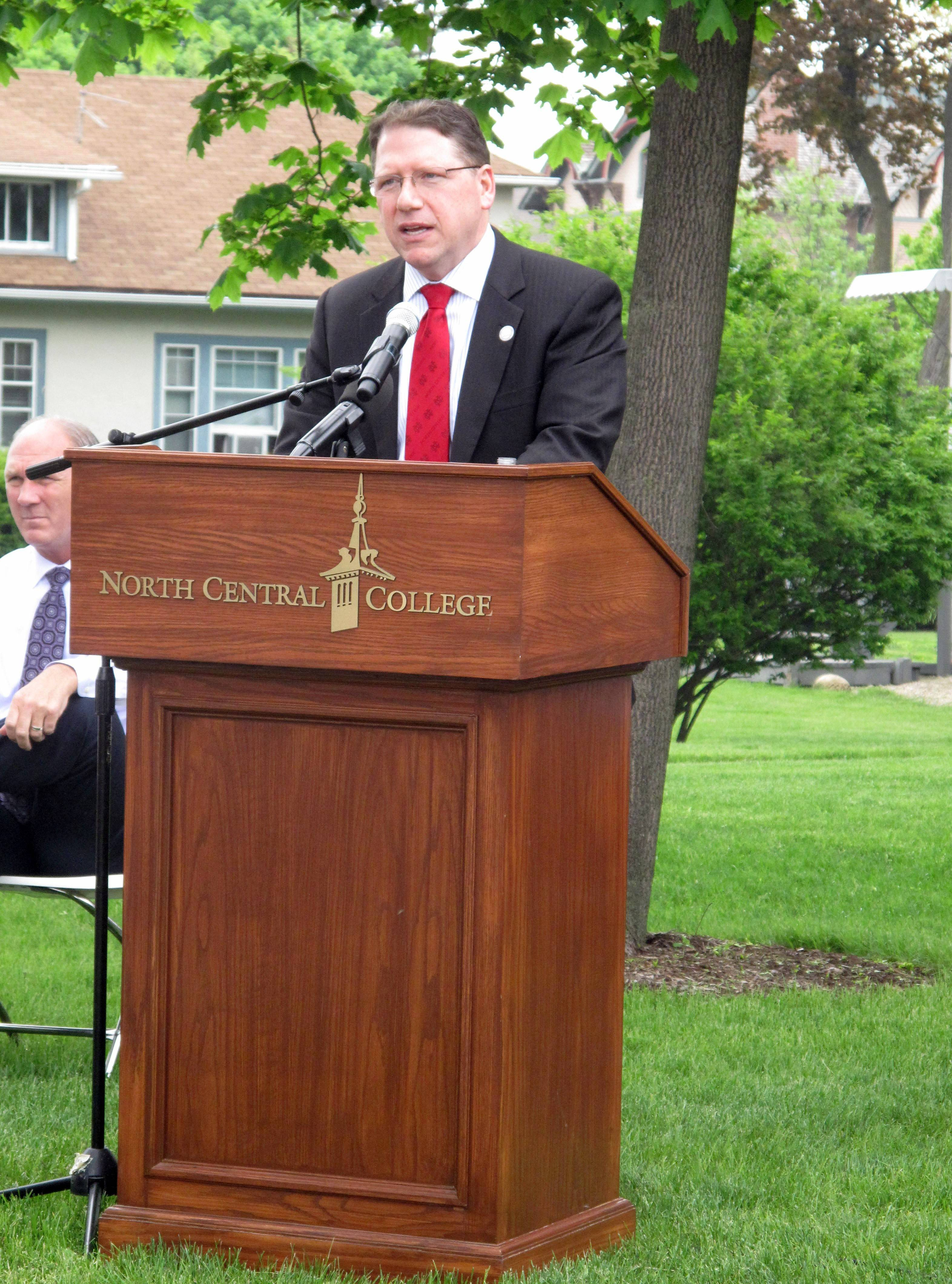 North Central College President Troy Hammond says a new science center was a top priority when he joined the college more than two years ago. On Friday, he spoke at a groundbreaking ceremony for the new building, for which the college is raising $60 million.