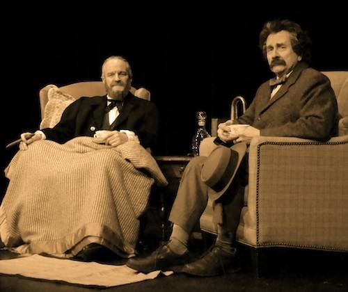 "Joe Keefe, left, plays former President Ulysses Grant and Richard Henzel plays his publisher, Mark Twain, in Metropolis Performing Arts Centre's ""A Conversation with Grant and Twain."""