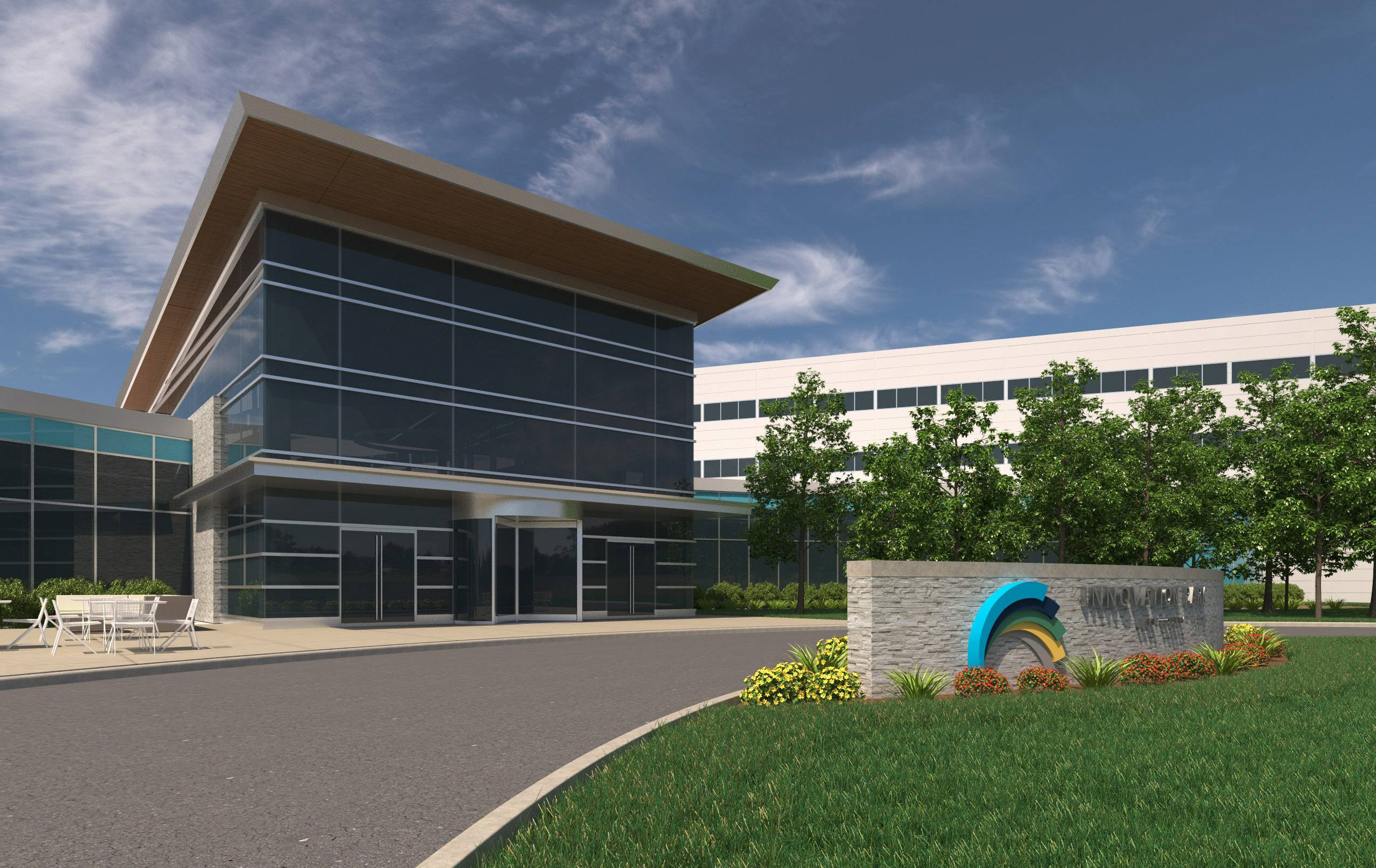 A rendering of a new main entry planned by BECO Midwest for the former Motorola campus on Route 45 in Libertyville.