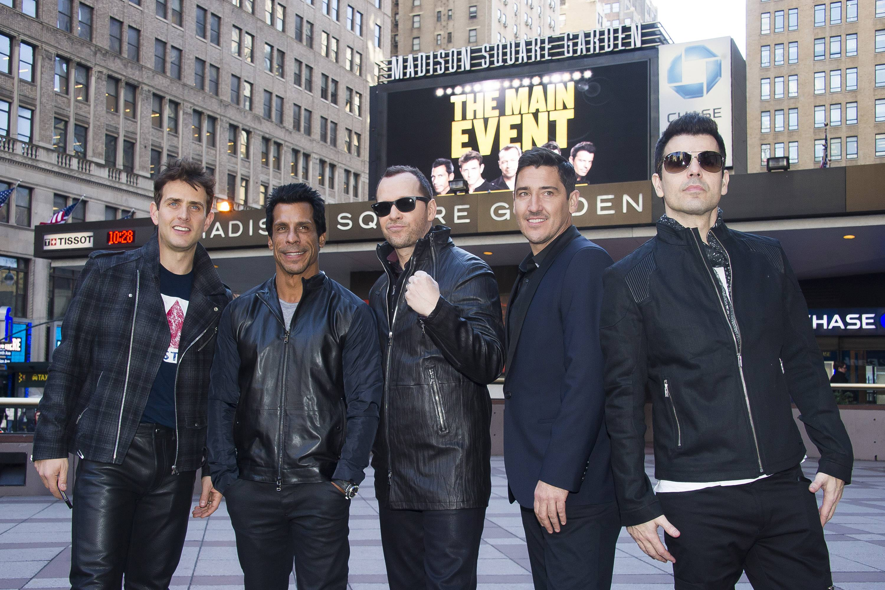 "New Kids On The Block members Joey McIntyre, left, Danny Wood, Donnie Wahlberg, Jonathan Knight and Jordan Knight bring ""The Main Event"" tour to the Allstate Arena in Rosemont."