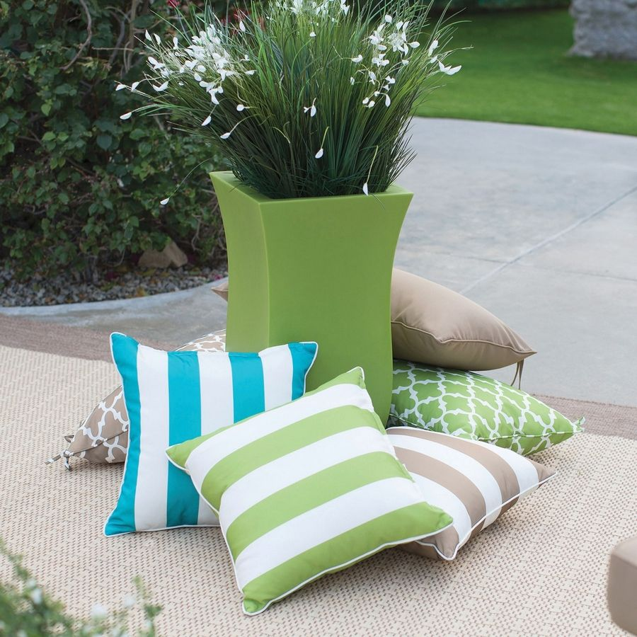 Outdoor patterned throw pillows are on-trend and provide added comfort and seating options.