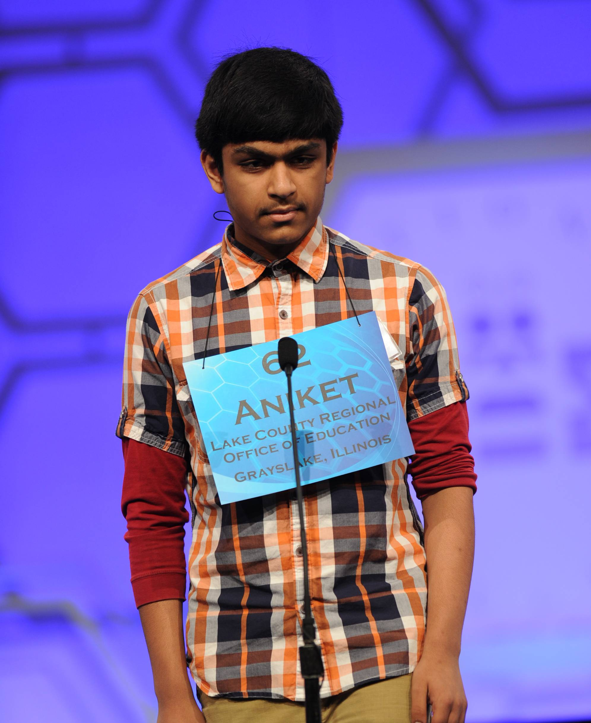 "Aniket Nuthalapati, an eighth-grader at Aptakisic Junior High School in Buffalo Grove, made it to the semifinals of the Scripps Howard National Spelling Bee, but fell in the second round by misspelling ""tristeza."""