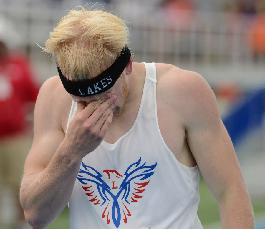Lakes' Corey Hertz reacts to his finish in the 200-meter dash during the Class 3A state meet preliminaries in Charleston on Friday.