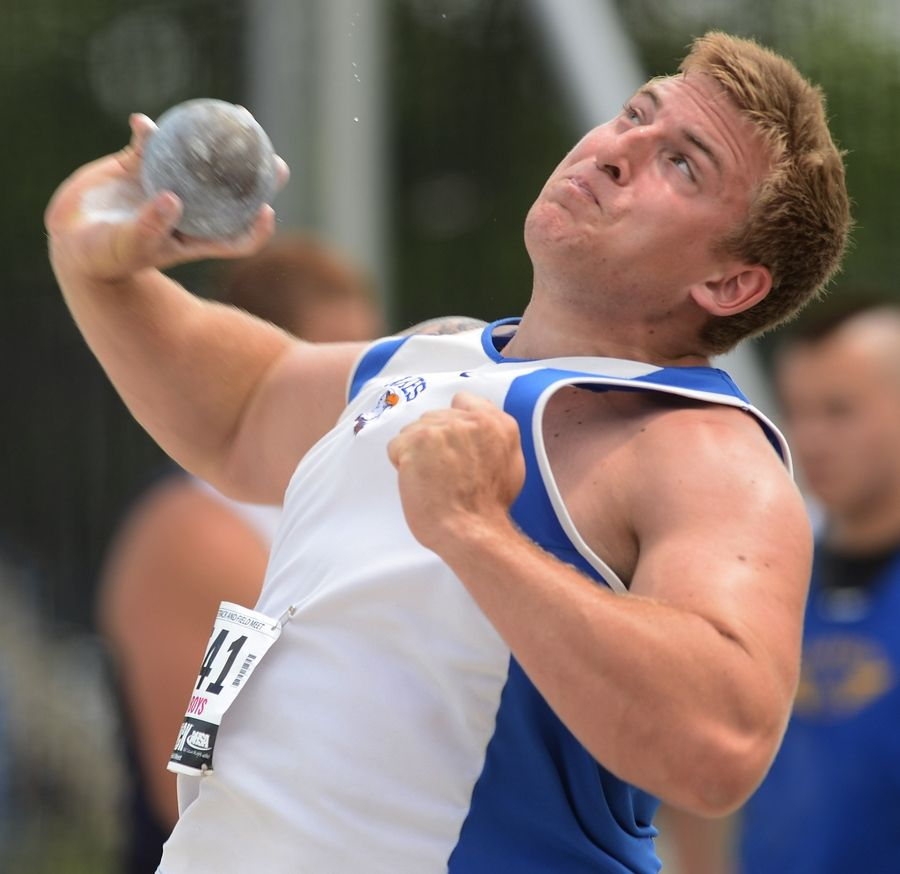 Lakes' Ryan Mullen throws the shot put during the Class 3A state meet preliminaries in Charleston on Friday.