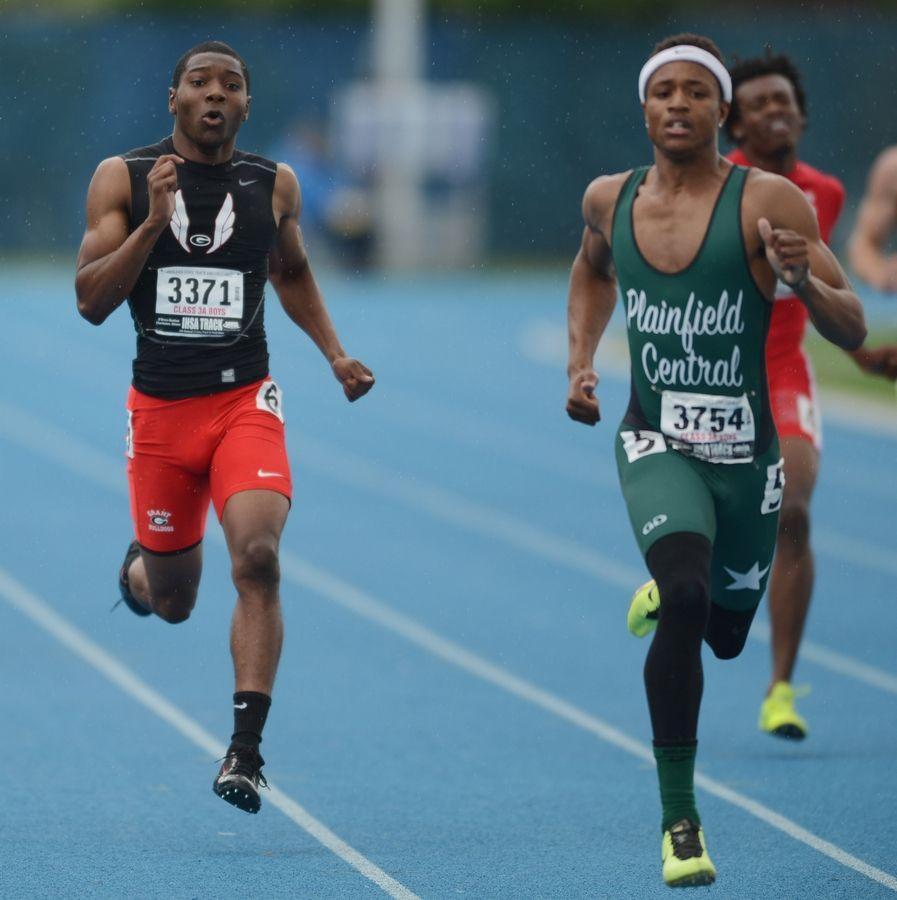 Grant's Octavian Wells charges toward the finish line in the 400-meter dash during the Class 3A state meet preliminaries in Charleston on Friday.
