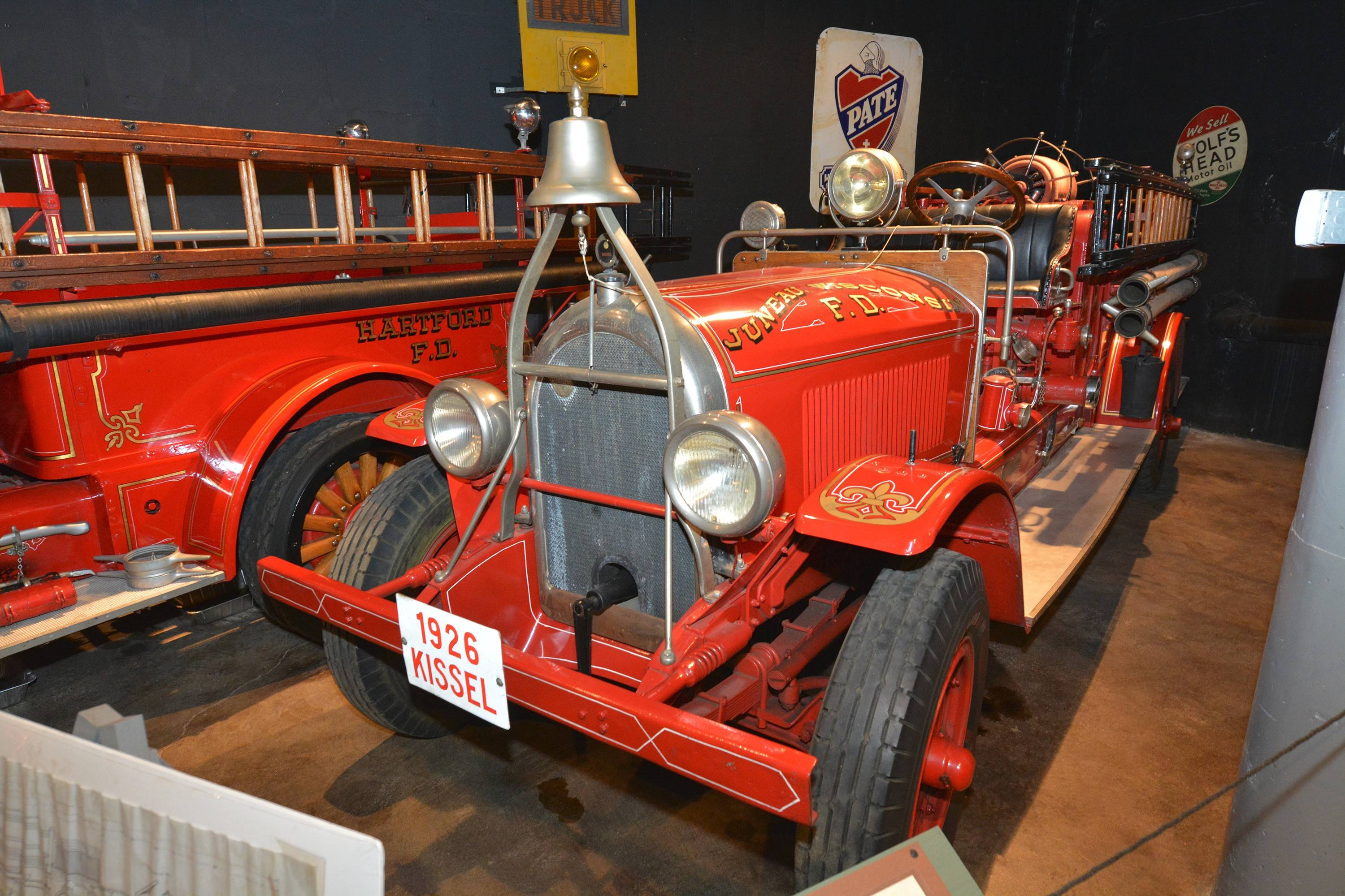 The Kissel Motor Car Co. expanded into fire trucks. This is a 1926 model. The truck on the left served the local community of Hartford, Wisconsin.