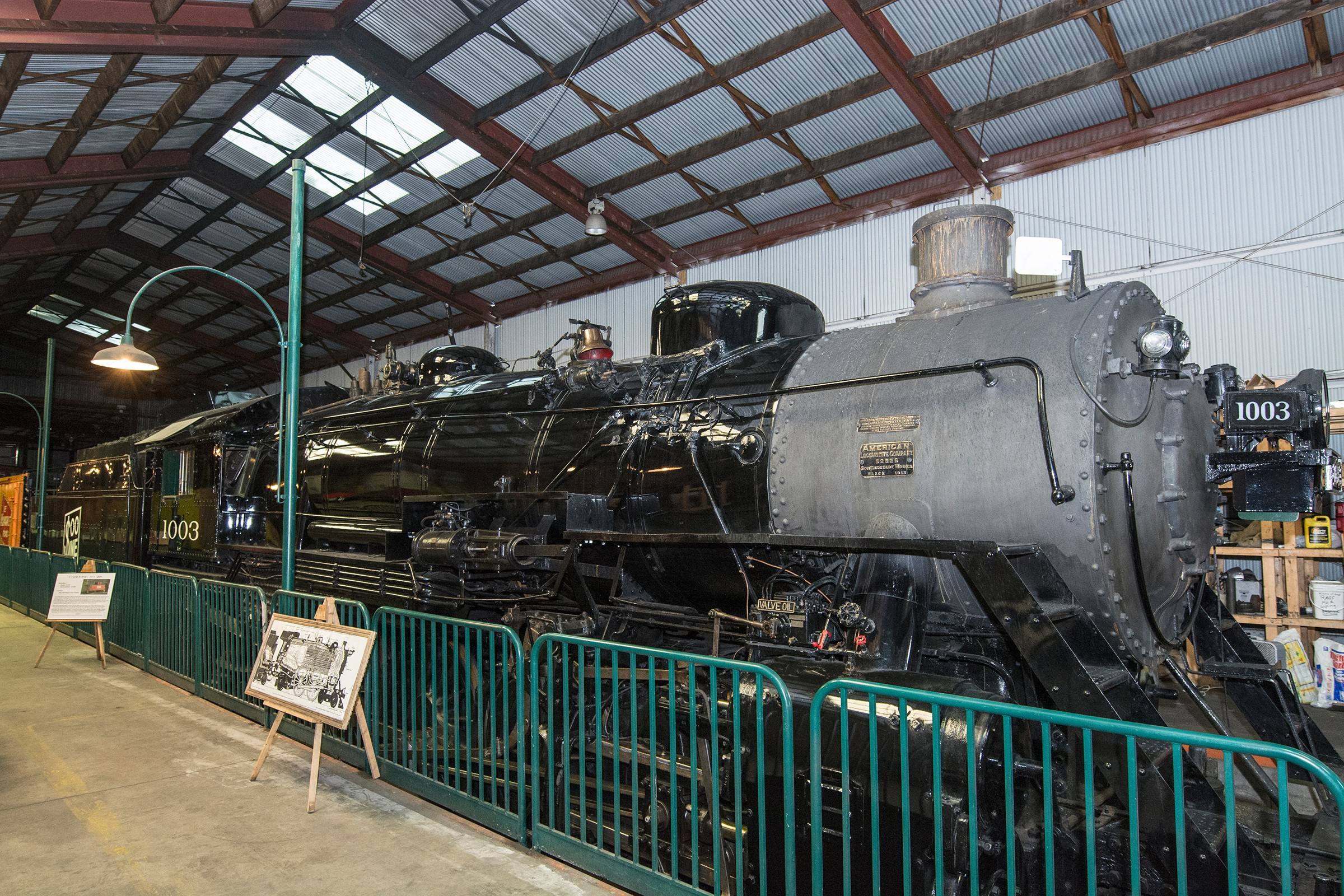 A 250-ton train, built in 1913, is on display at the museum. It was restored by the Steam Locomotive Heritage Association.