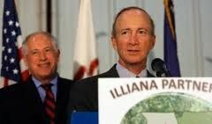 Gov. Pat Quinn and former Indiana Gov. Mitch Daniels kicked off the Illiana Expressway with a memorandum of understanding in 2010. It's now fallen victim to the state's budget woes.
