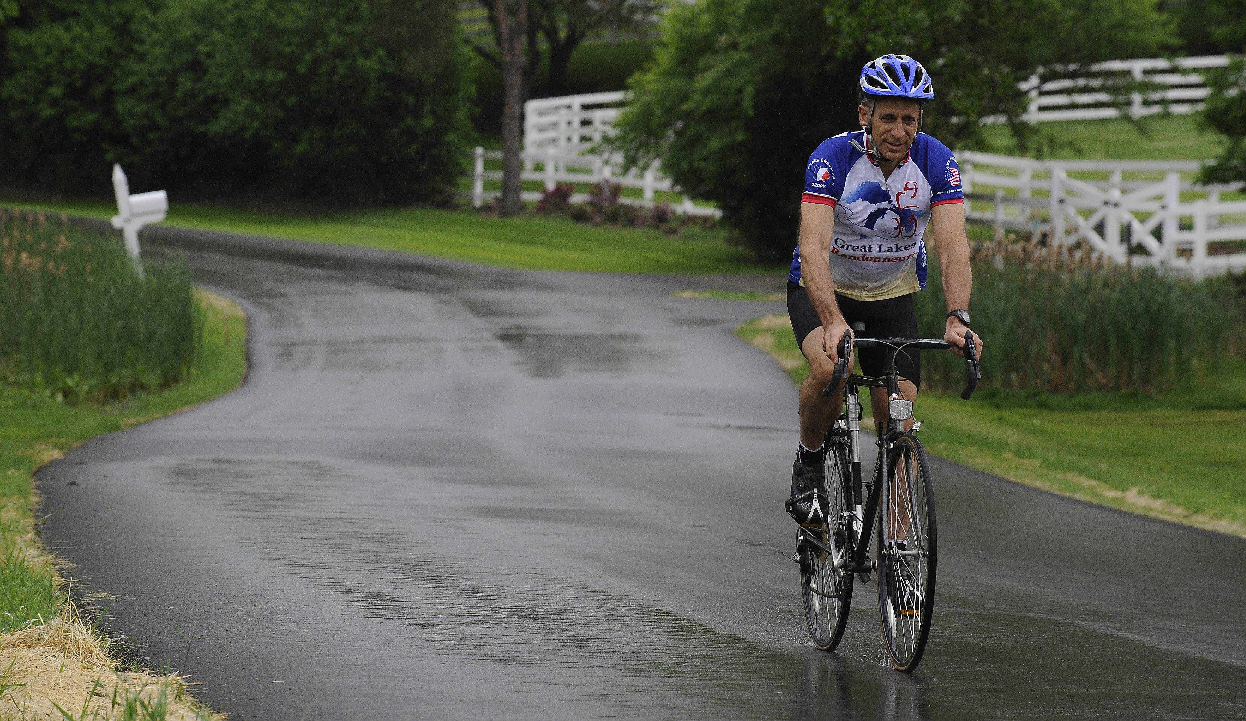 Bike rides in our recent damp and cold should help David Hirsch of Barrington in his quest to ride his bicycle from California to Chicago in 21 days. The 54-year-old founder of two charities devoted to fatherhood hopes to raise funds and awareness.