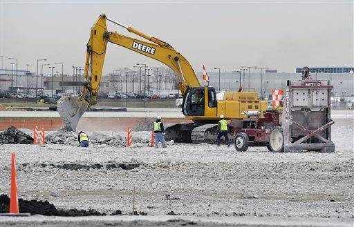 Construction crews work on the new runway as part of the O'Hare International Airport expansion plan.