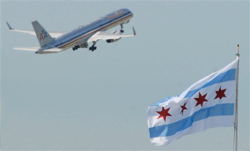 A passenger airliner takes off at O'Hare International Airport.