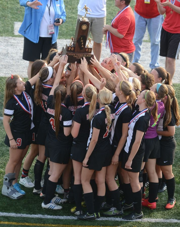 Barrington celebrates its victory Collinsville in the Class 3A girls soccer thirdp-place game Saturday at North Central College in Naperville.