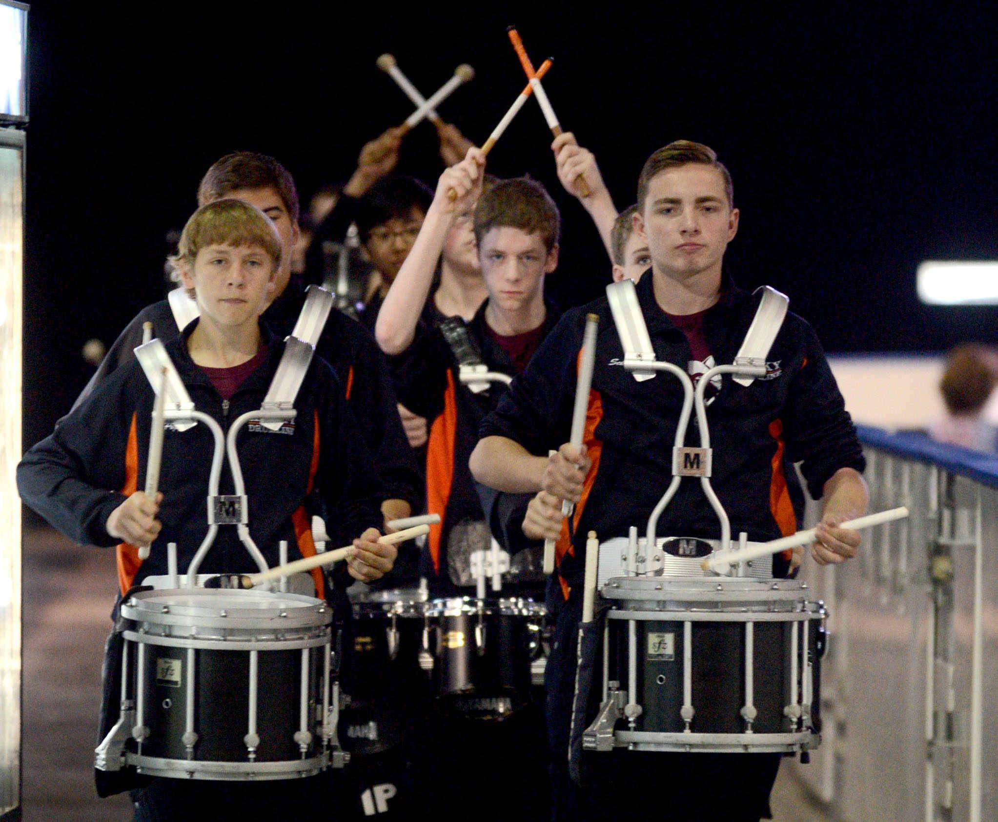 Drumline musicians from Hersey High School opened and closed the show Sunday during the Daily Herald Prep Excellence awards banquet at the Sears Centre Arena in Hoffman Estates.