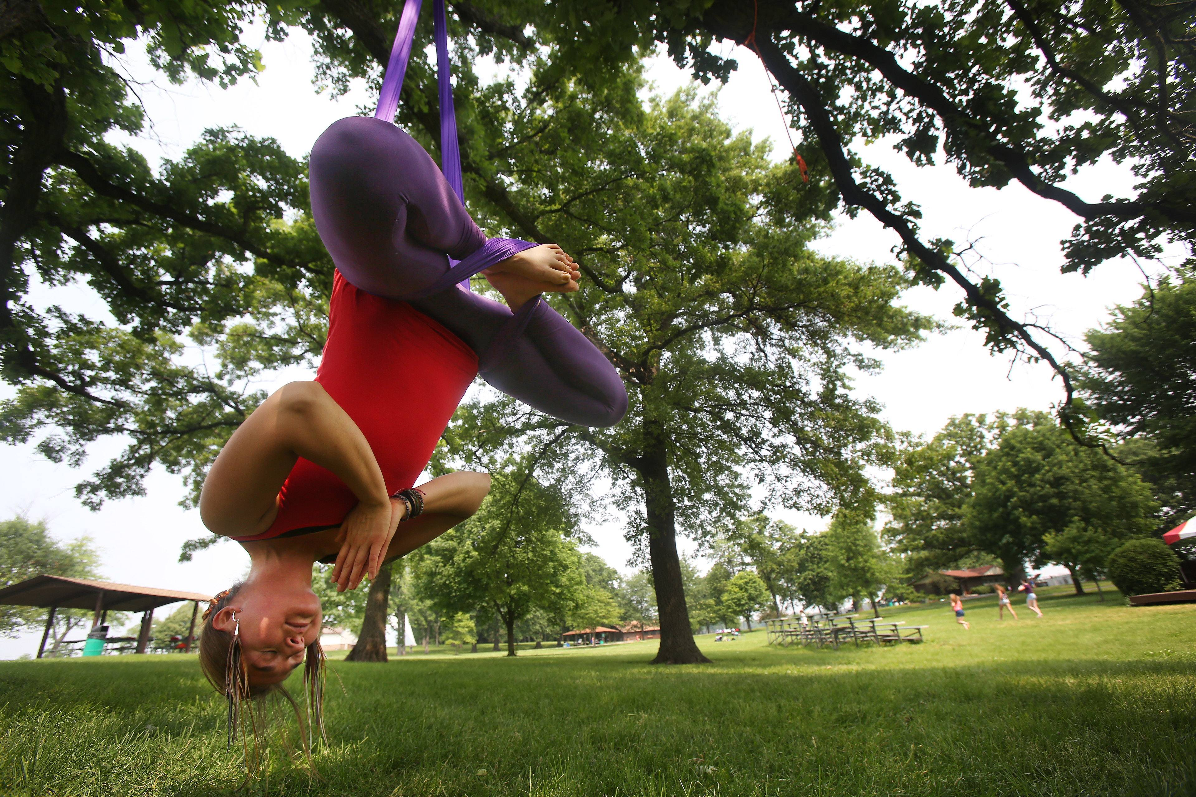 International aerial yoga instructor Holly Johnson of Hoffman Estates will teach four-week aerial yoga classes in Lake Zurich's Paulus Park starting June 16. Johnson, of Aviana Yoga, is working with the Village of Lake Zurich Park & Recreation Department to offer the classes.