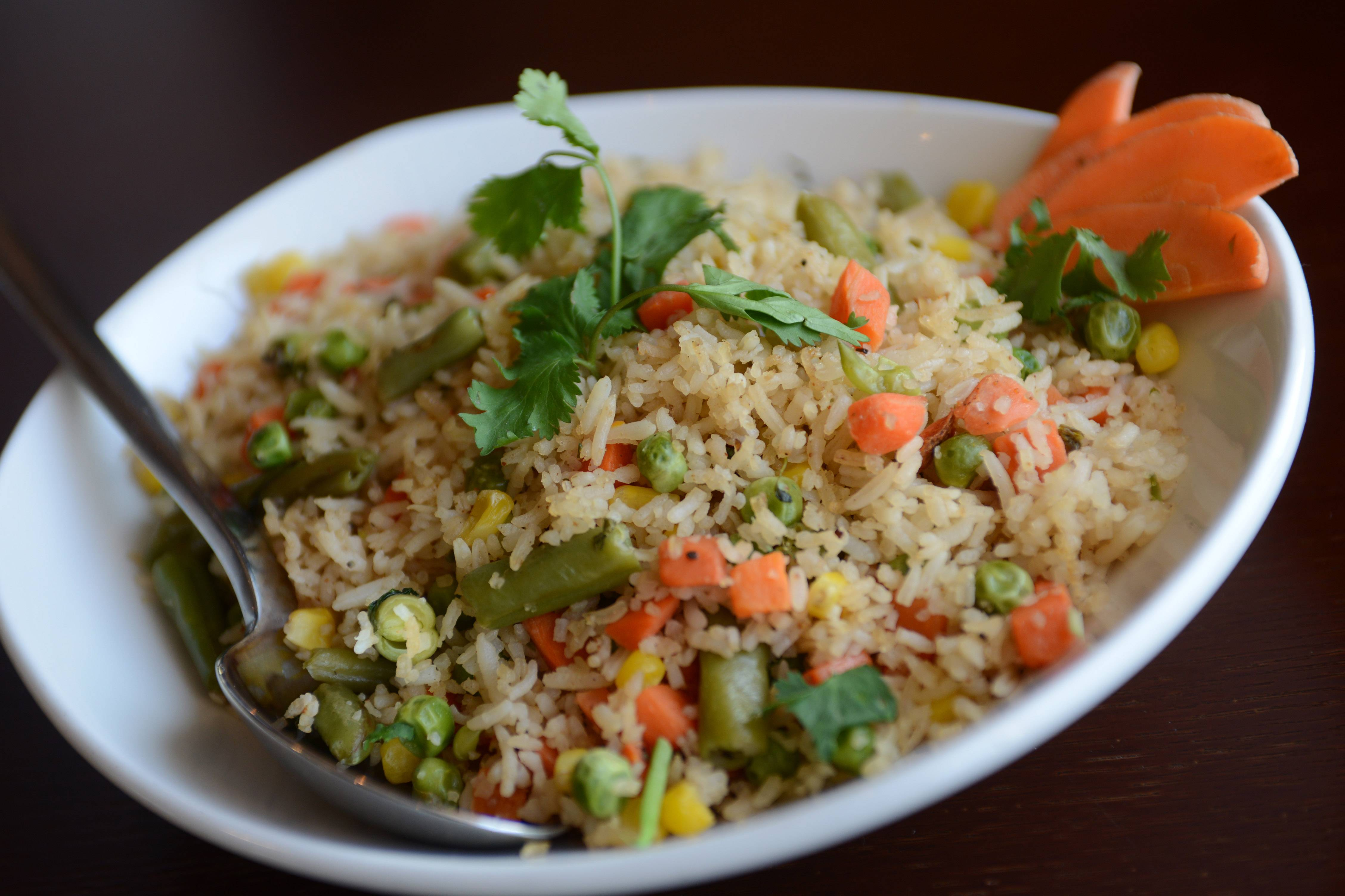 Fried rice with vegetables is among a few Indochinese dishes offered on the Spice Grill menu.