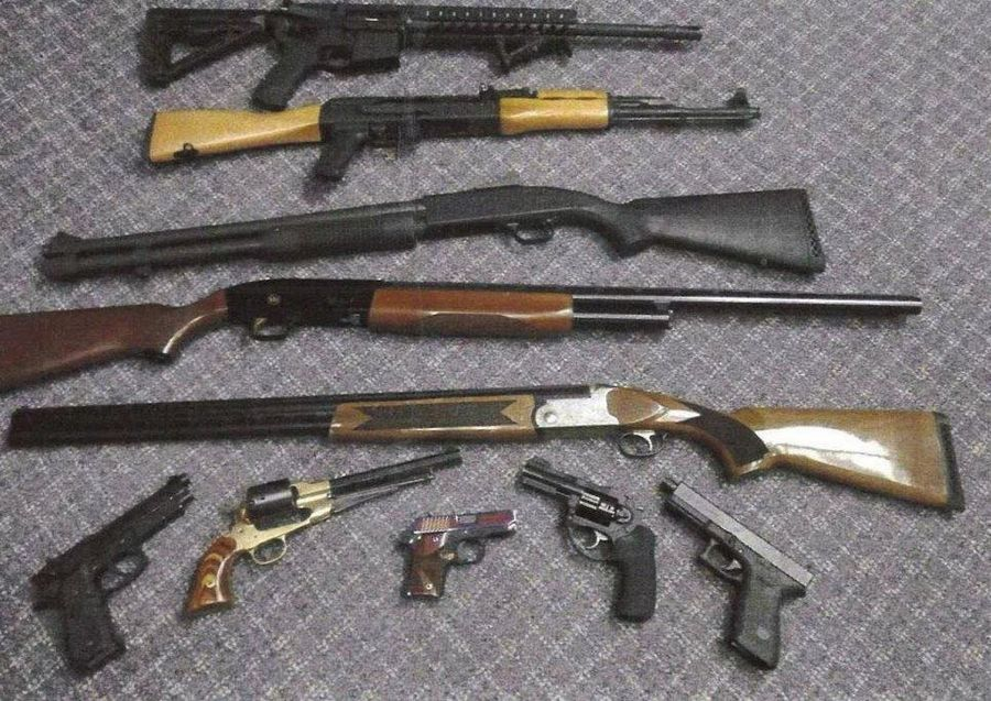 Ten of the 55 guns recovered from the gun shop theft in Beach Park.