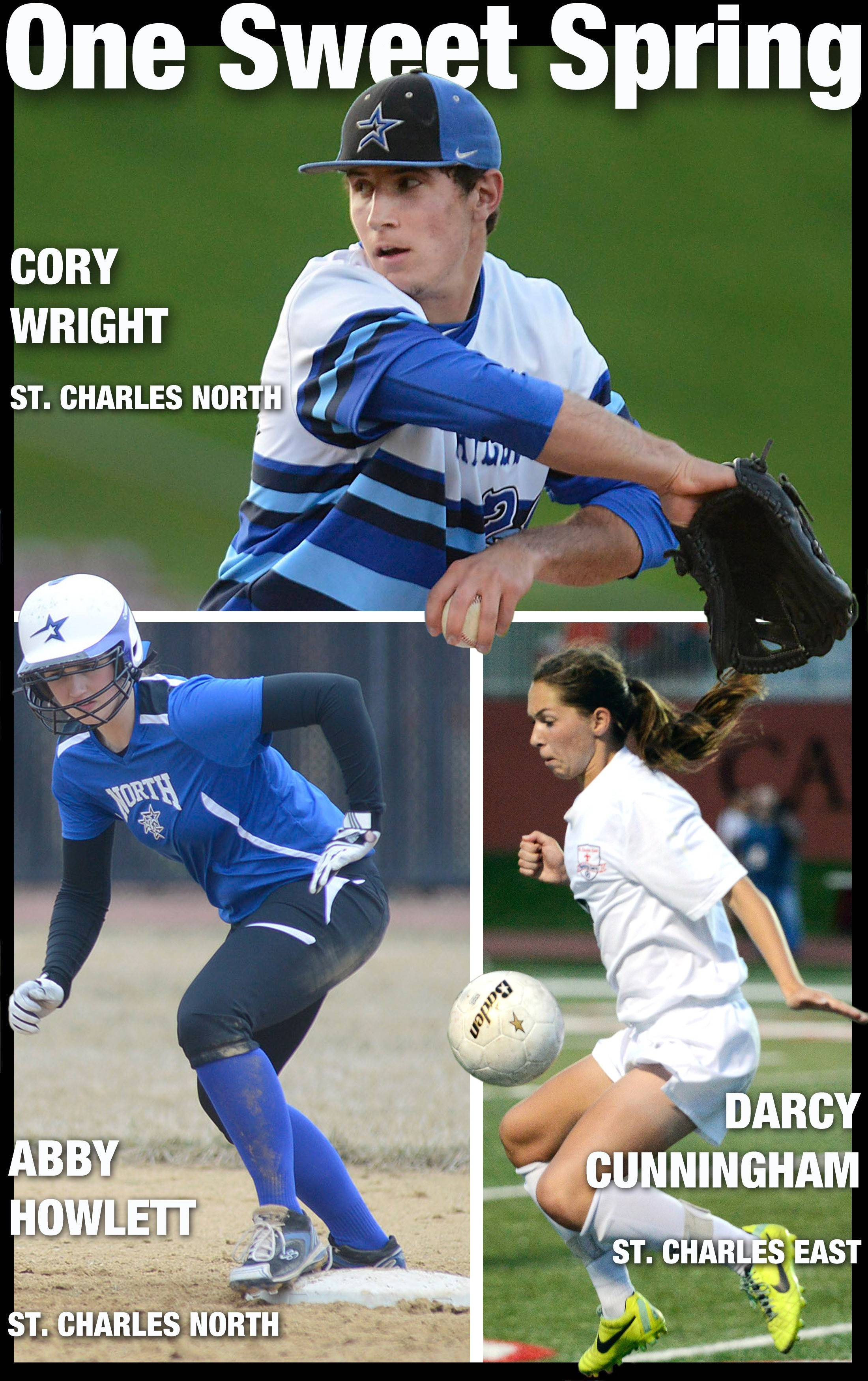 Cory Wright of St. Charles North, Abby Howlett of St. Charles North and Darcy Cunningham of St. Charles East are the Daily Herald Tri-Cities All-Area Honorary Team Captains for Spring 2015.