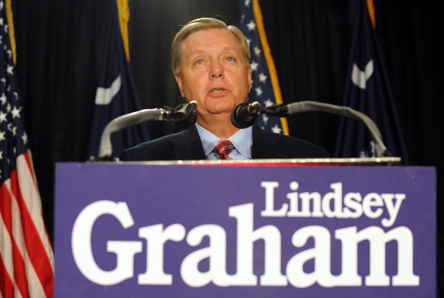 Sen. Lindsey Graham, a South Carolina Republican, speaks to supporters after being re-elected in 2014.
