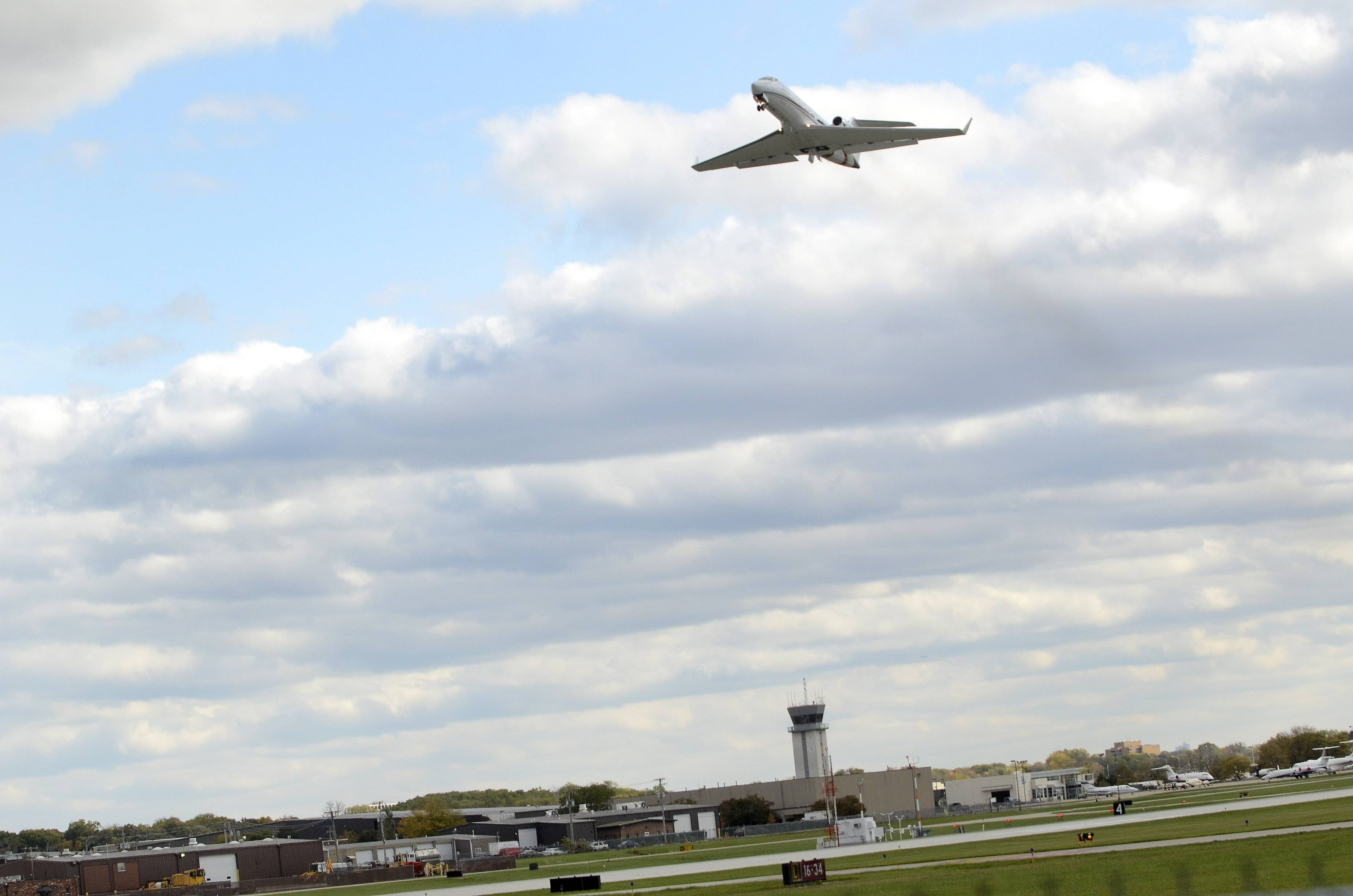 A jet takes off from Chicago Executive Airport, jointly owned by Wheeling and Prospect Heights.