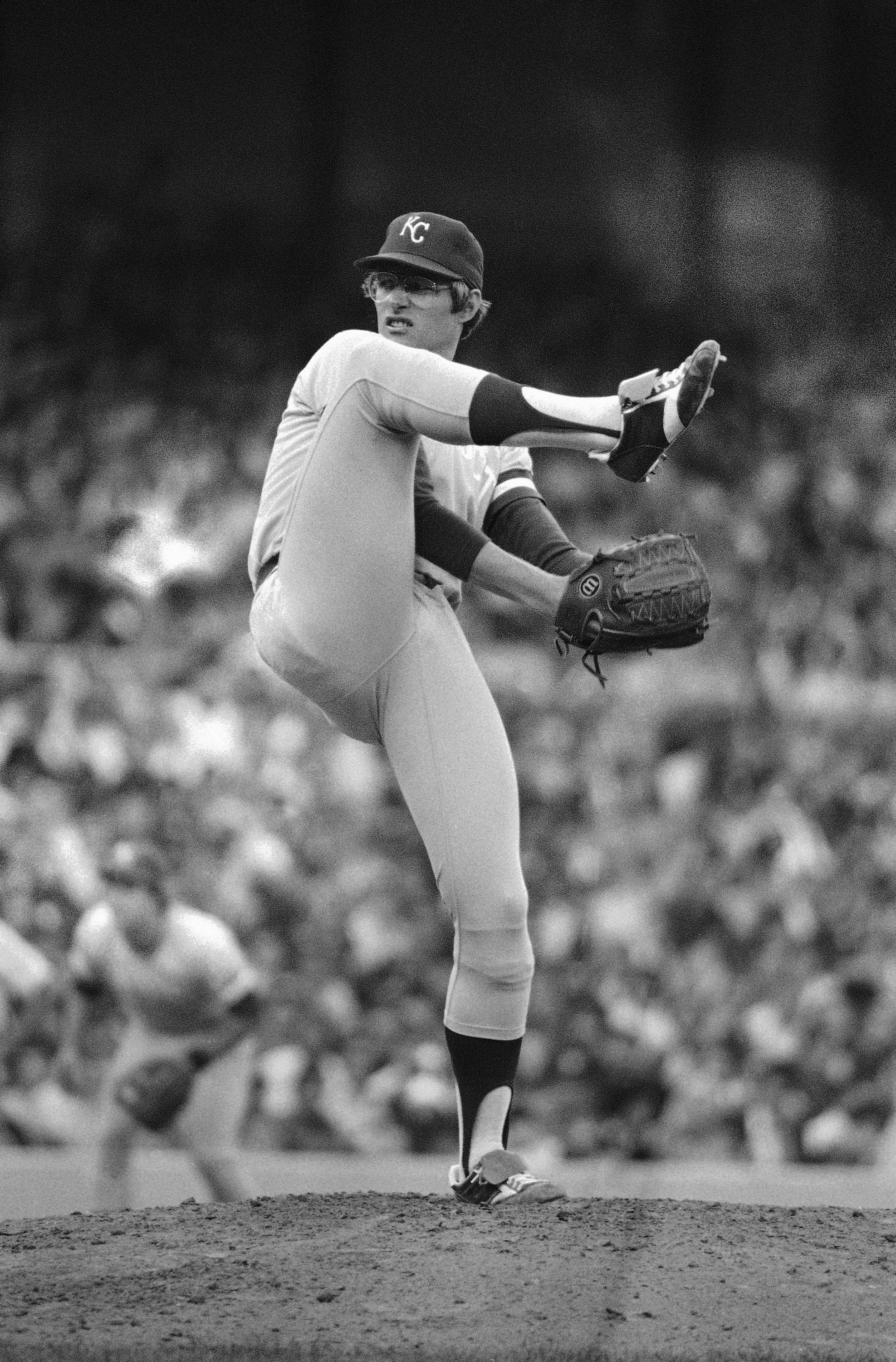 Kansas City Royals southpaw Paul Splittorff deals to the New York Yankees in their playoff opener on Oct. 6, 1977. He got credit for the Royals 7-2 victory.