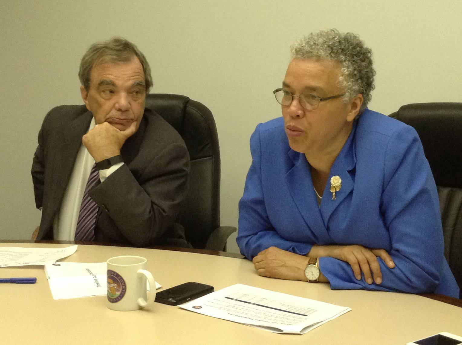 Cook County Board President Toni Preckwinkle and Finance Committee Chairman John Daley discuss a proposed sales tax increase during a meeting Tuesday with the Daily Herald Editorial Board.