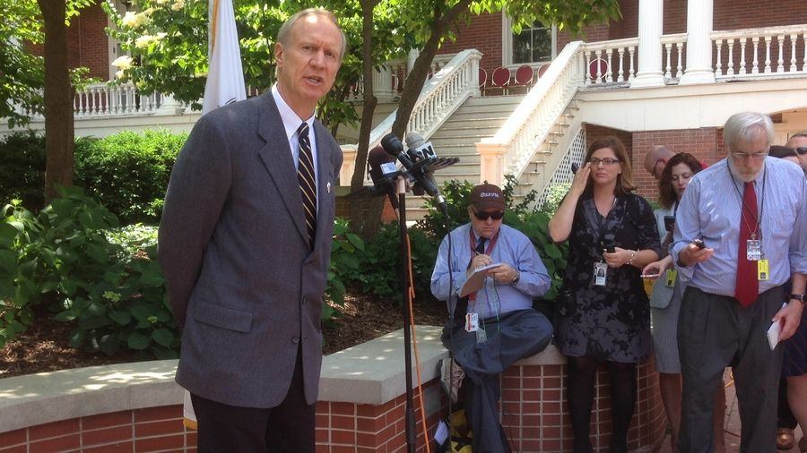 From the lawn of the governor's mansion, Illinois Gov. Rauner speaks to the press about the state's budget impasse.