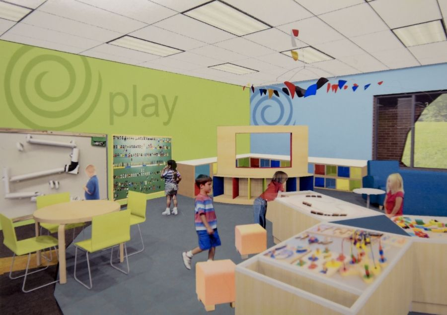 A rendering shows the renovated youth department, with more interactive play areas.