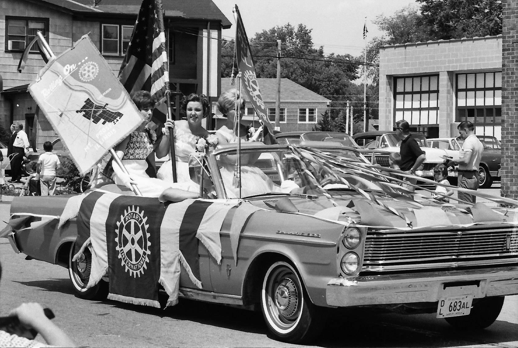 The Mount Prospect Rotary float in the Fourth of July parade in 1965.