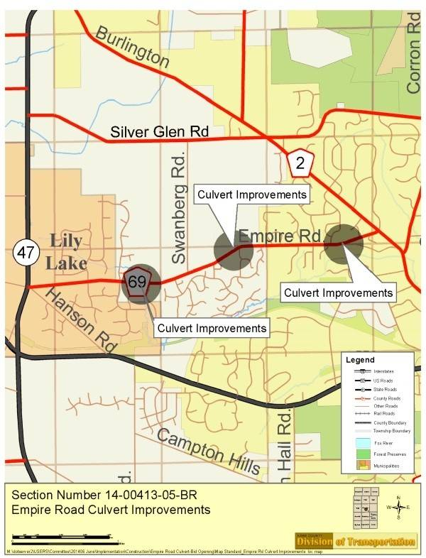 Culvert replacement and road upgrades will fuel the shutdown of Empire Road through and near Lily Lake for two months.