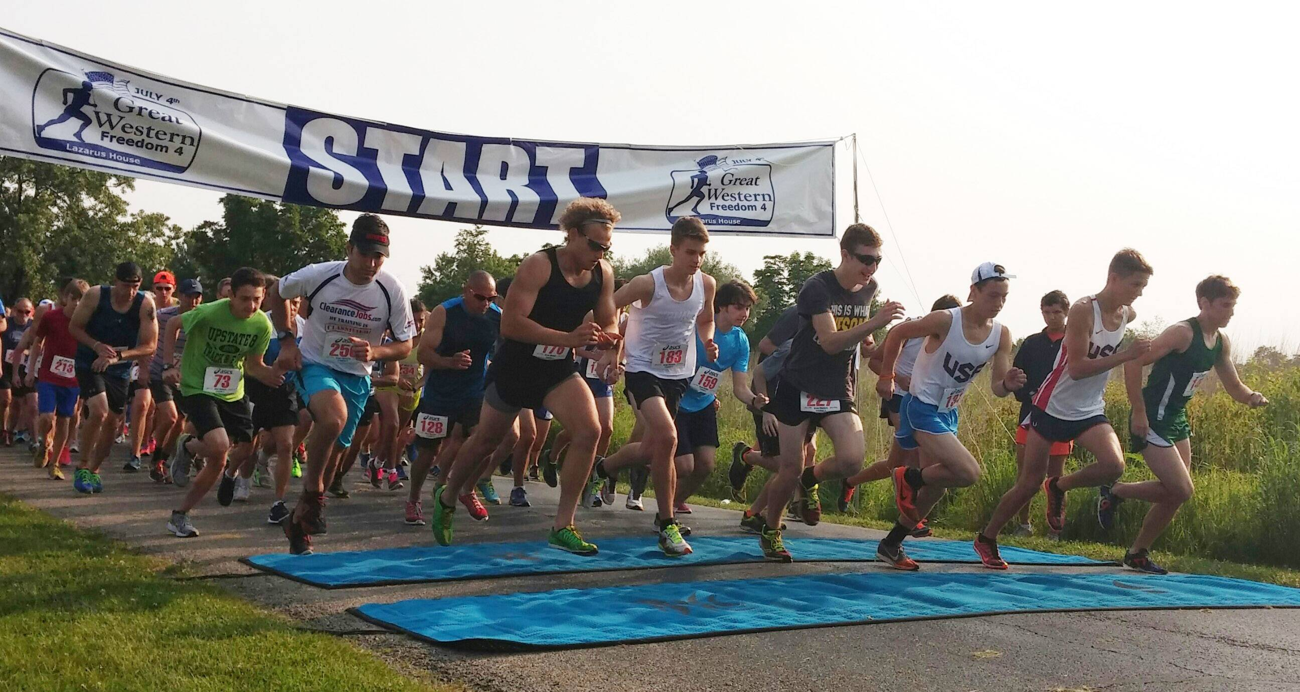 Runners start in the Freedom 4 run Saturday morning at the LeRoy Oakes Forest Preserve in St. Charles. The event raises money for Lazarus House, a homeless shelter.