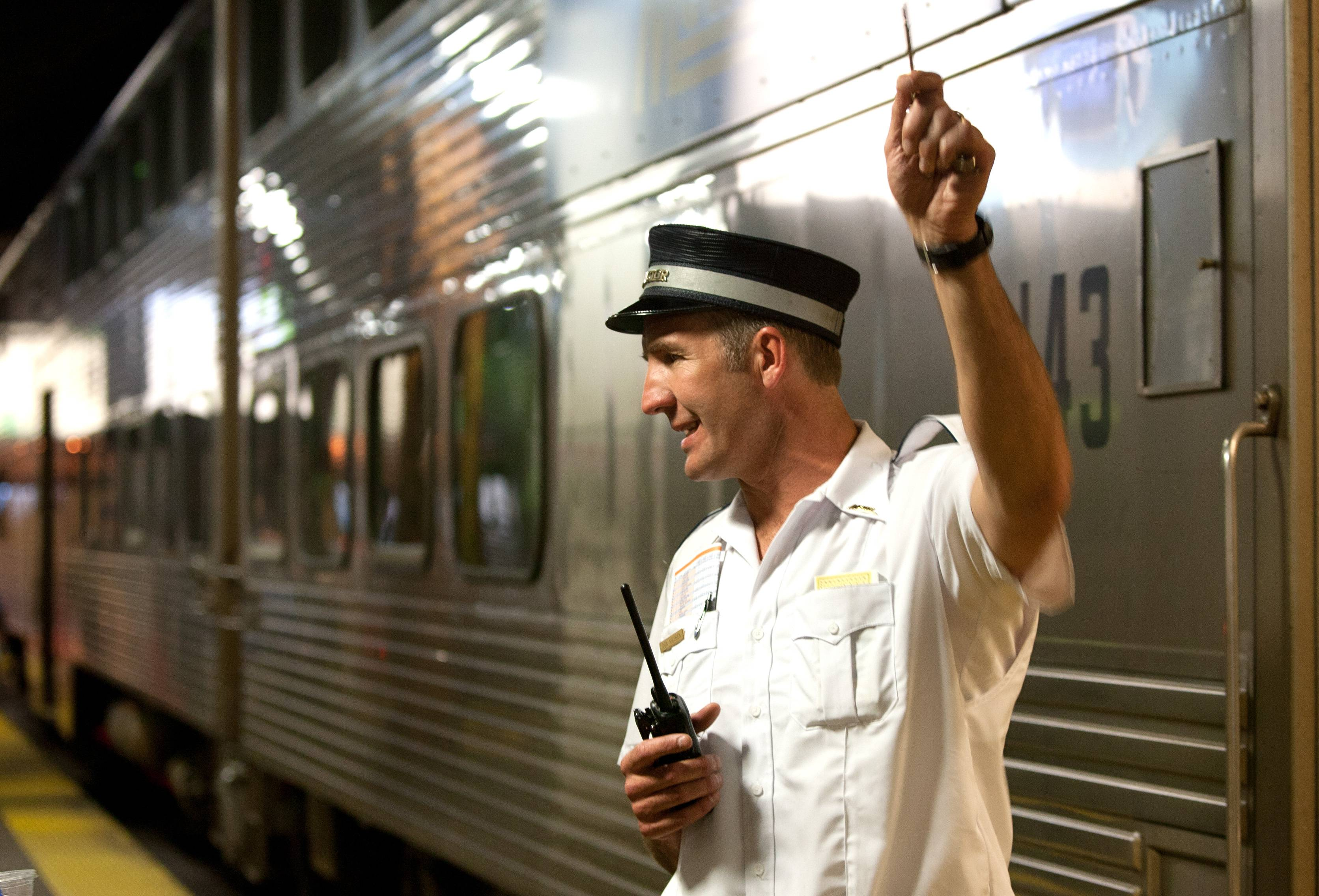 Don Kiesgen, a conductor on the Metra Milwaukee North Line, prepares to leave Union Station.