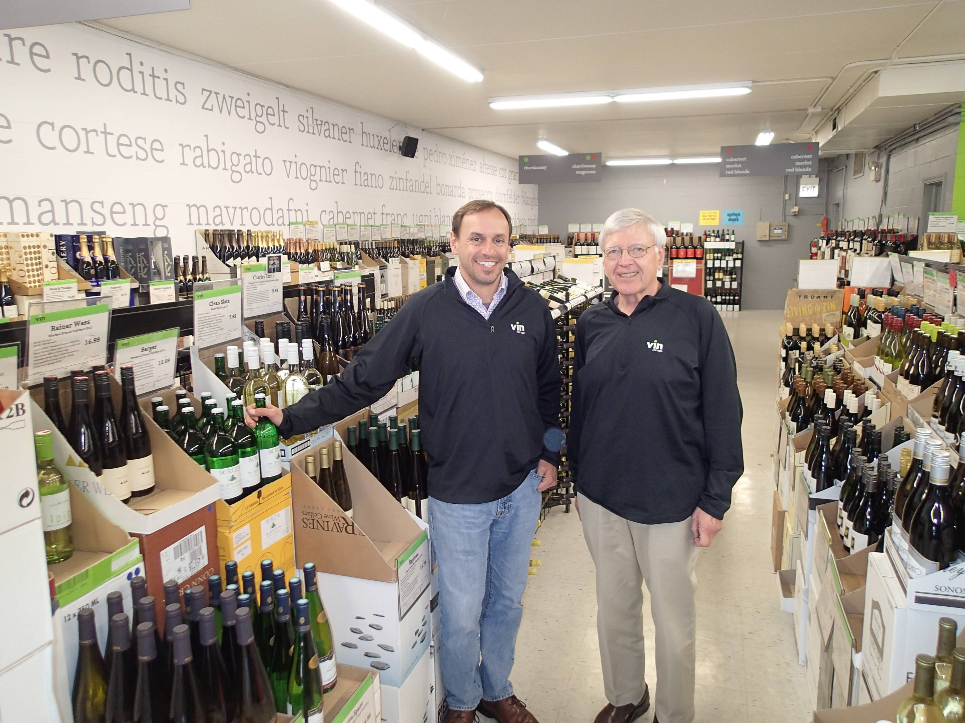 Peter Schwarzbach, at left, owns and manages Vin Chicago, which was founded by his father Bud Schwarzbach.