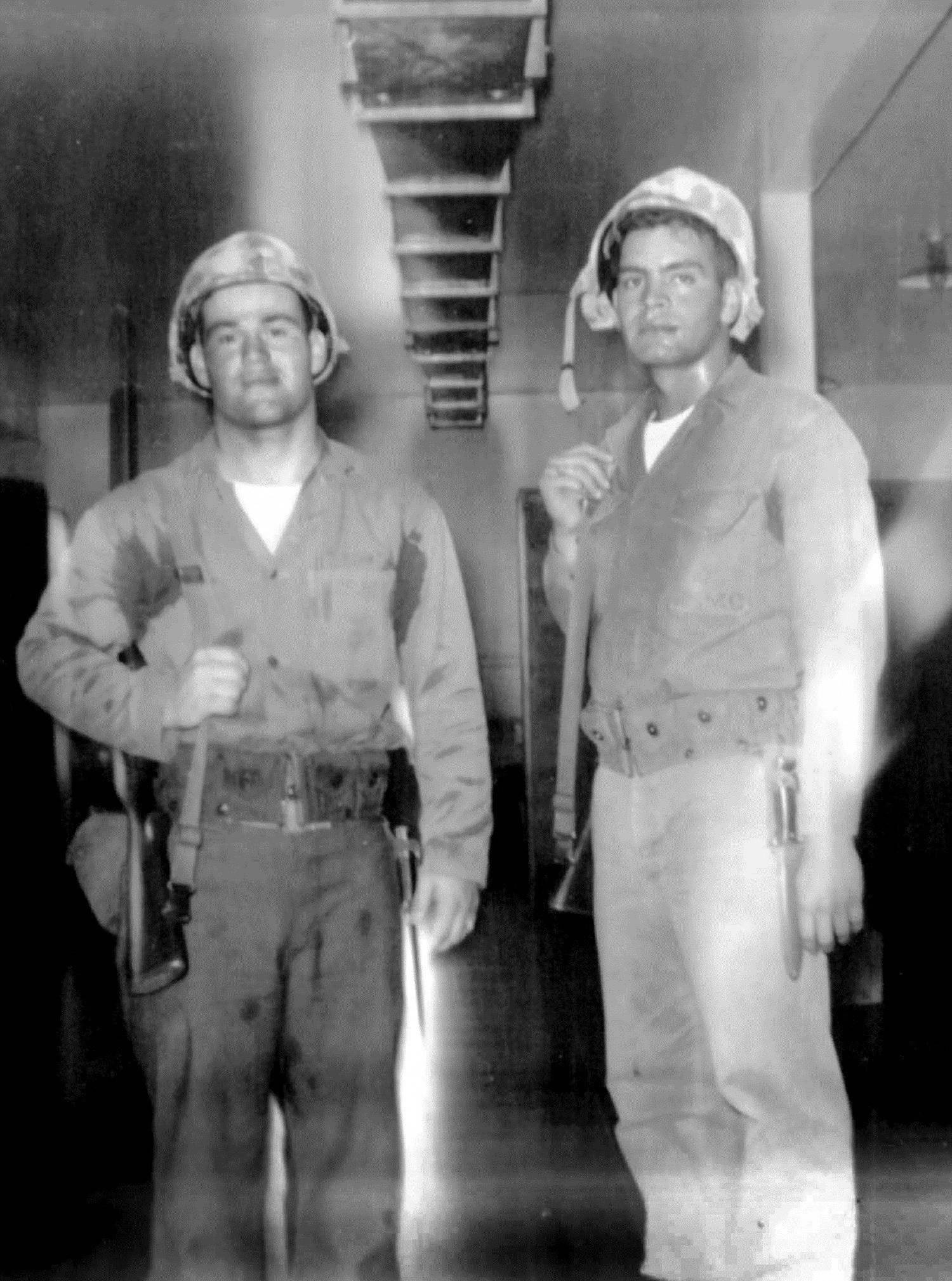 Dick Portillo, right, served with the First Marine Division at Camp Pendleton, California.