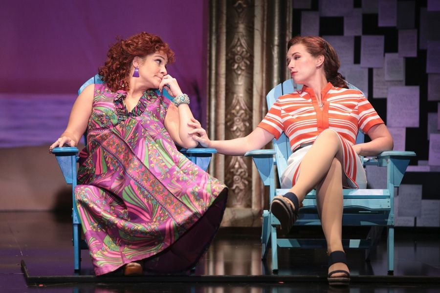 "Shoshana Bean, left, and Whitney Bashor play best friends who see each other through ups and downs in Drury Lane Theatre's ""Beaches,"" based on the 1985 novel by Iris Rainer Dart."