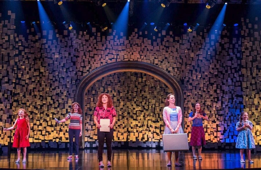 "Various incarnations of best friends Cee Cee (Presley Ryan, from left, Samantha Pauly and Shoshana Bean) and Bertie (Brooklyn Shuck, from right, Olivia Renteria and Whitney Bashor) star in Drury Lane Theatre's pre-Broadway production of the musical ""Beaches."""