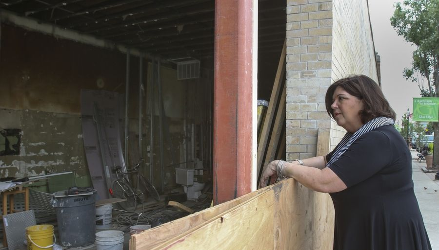Jill Foucré, owner of Marcel's Culinary Experience in Glen Ellyn, takes a look at the progress on renovations to a century-old building that will become Marché.
