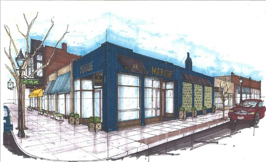 A rendering shows Marché, a gourmet cheese shop where diners can sample platters with a glass of wine in downtown Glen Ellyn.