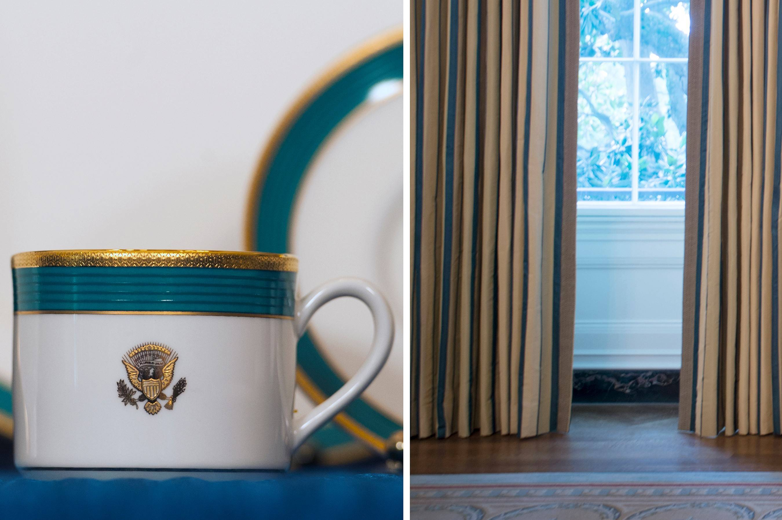 "The Obama state china service unveiled in April, left, shows its ""Kailua Blue"" trim, a color inspired by the waters off Hawaii, the president's home state. At right, the new State Dining Room striped silk curtains unveiled as part of the room's makeover have a peacock blue stripe that will coordinate well with the china."