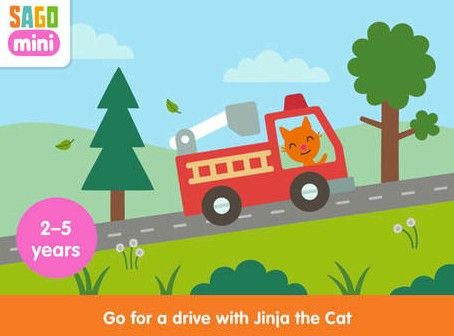 Sago Mini Road TripCost: $2.99Ages: 2 to 5Your kids can take an eventful road trip with Jinja the cat. They will enjoy being in charge as they choose a car and destinations to explore on their road trip.